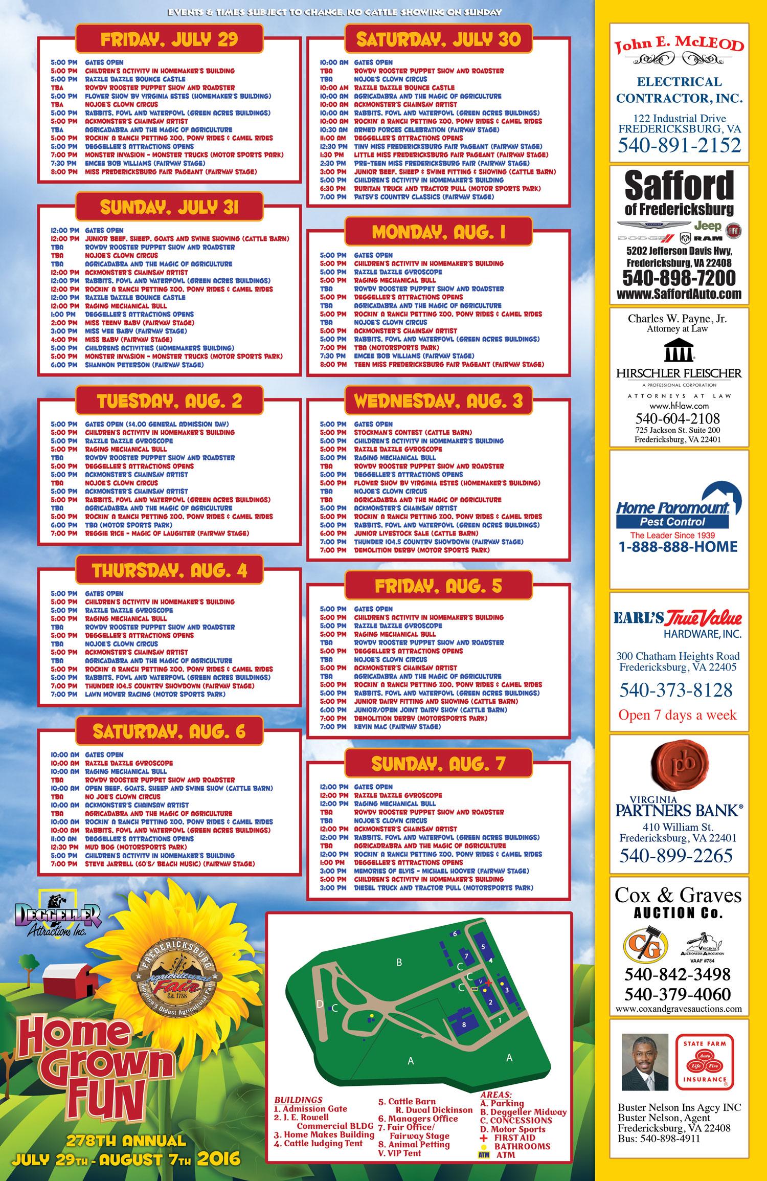 2016 Fair Schedule